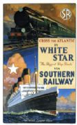 "Cross the Atlantic by White Star via Southern Railway Travel Poster Print.  ""The biggest Ship Route"""